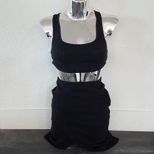 Black Asymmetrical H&M High Waisted Midi